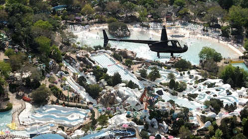 Helicopter over water park in Orlando.