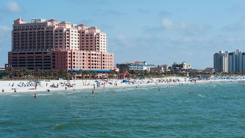 Clearwater Beach with beachgoers in Florida.
