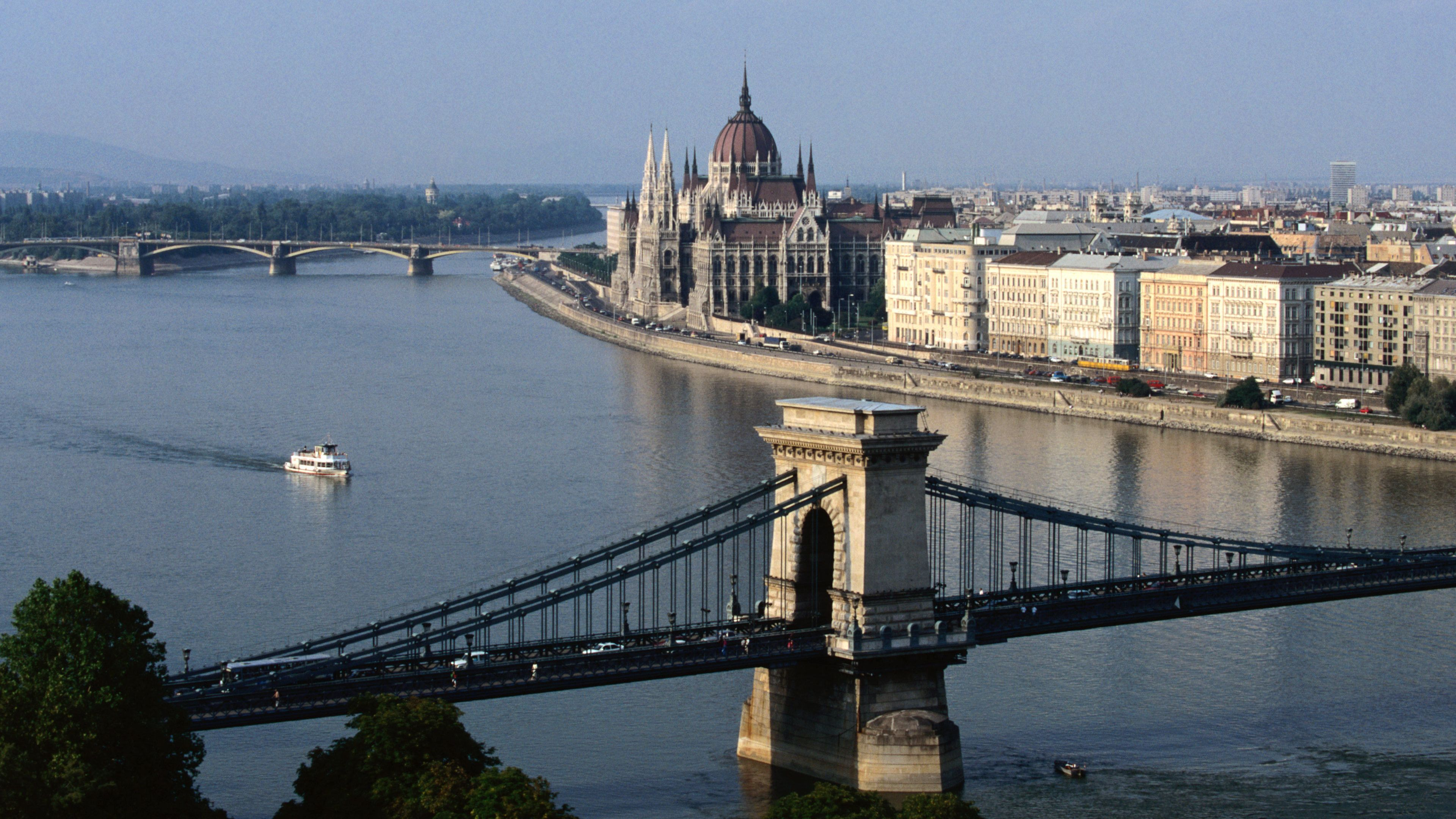 Aerial view of the water and bridge in Budapest