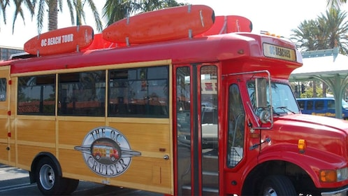 Colorful Orange County Beach tour bus.
