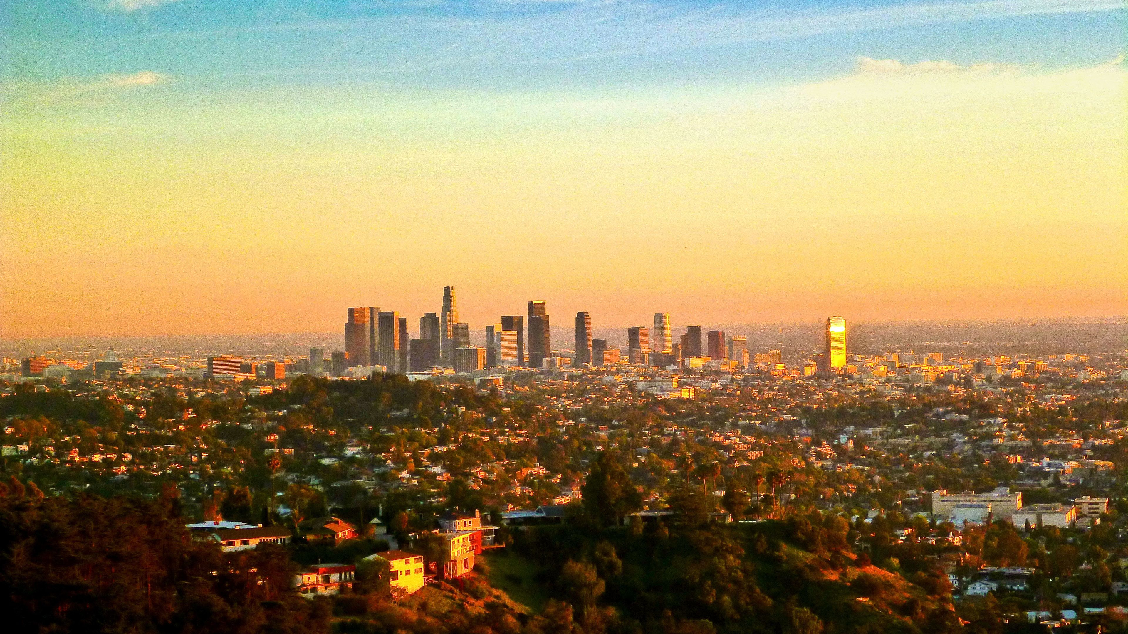 View of Los Angeles at sunset from the Hollywood Hills.