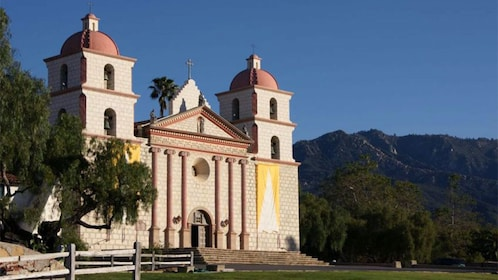 Front of Spanish Mission style church in California.
