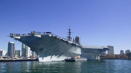 US Navy ship docked in San Diego.