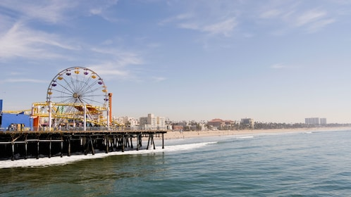 Santa Monica Pier overlooking the ocean in Los Angeles.