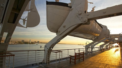 Deck and lifeboats onboard the Queen Mary.