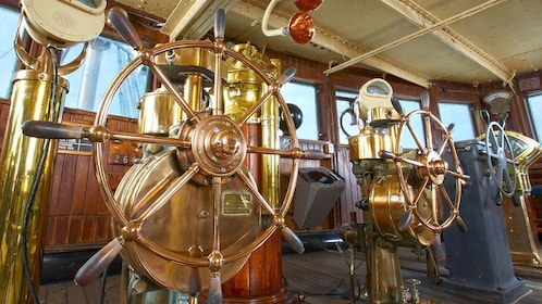 Copper and brass ship's wheels on the Queen Mary.
