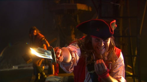 An evil looking pirate captain.