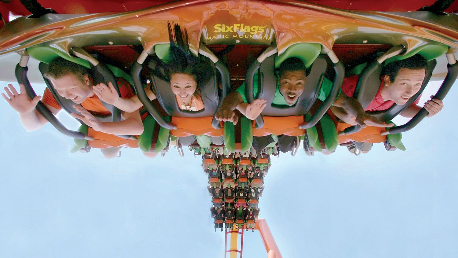Six Flags roller coaster ride in Los Angeles.