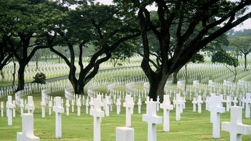 Crosses mark the graves at the American Cemetery in Manila