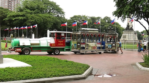 Train waiting to pick up tourists in Manila