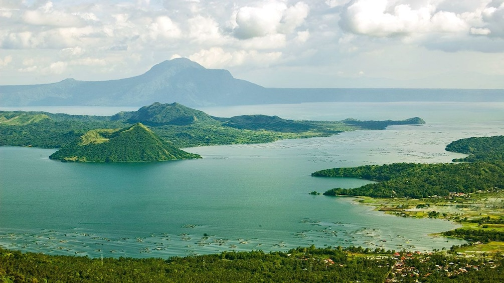 View from Tagaytay of Taal Lake from with mountains in the distance