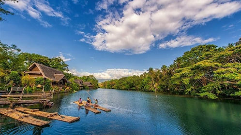Rafts on Labasin Lake at Villa Escudero Plantations in San Pablo City, Philippines