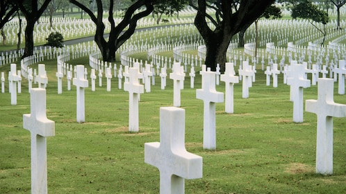 Rows of crosses marking the graves at American Cemetery in Manila