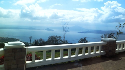 Walkway on Taal Volcano looking out at the lake in Manila
