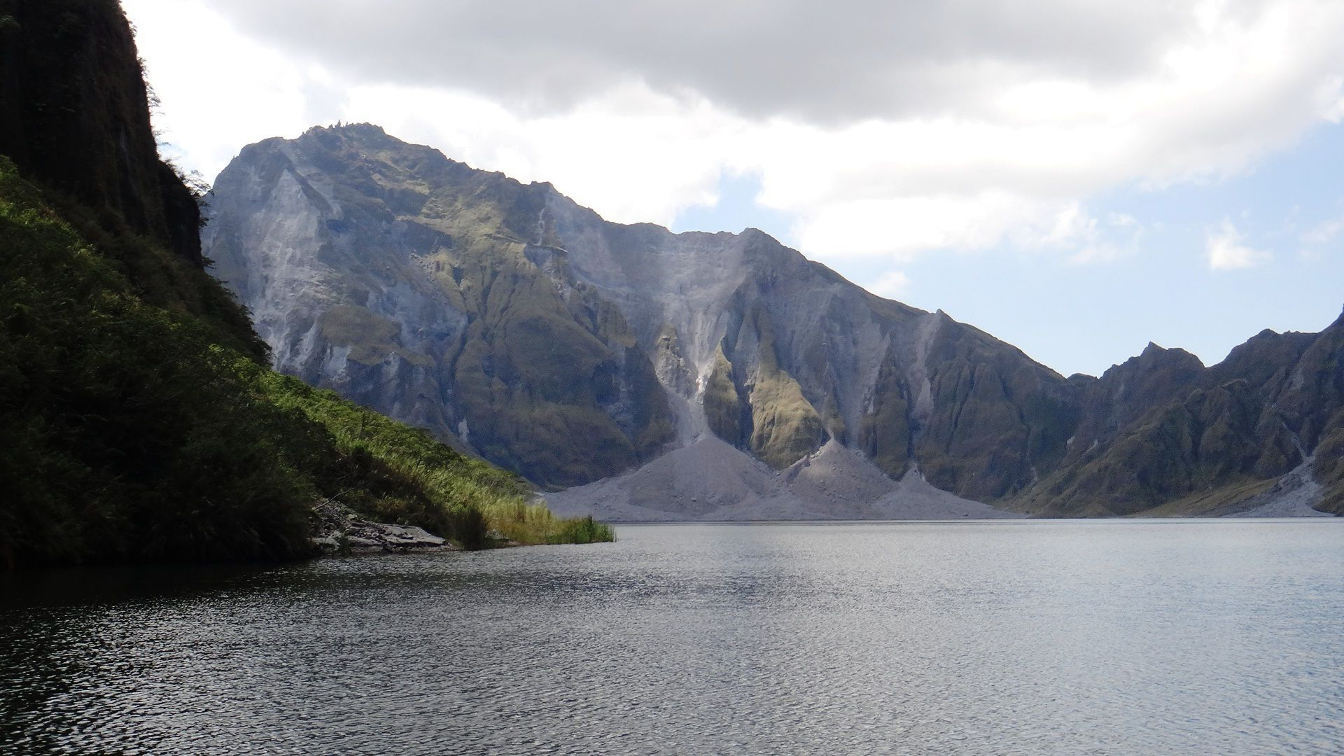 Lake Pinatubo with mountain in the background in the Philippines