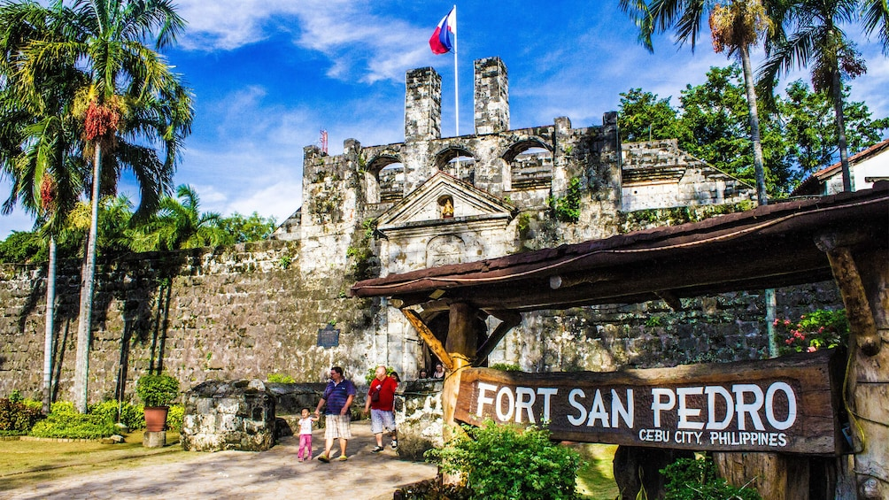 Show item 3 of 5. Sign in front of Fort San Pedro in Cebu City