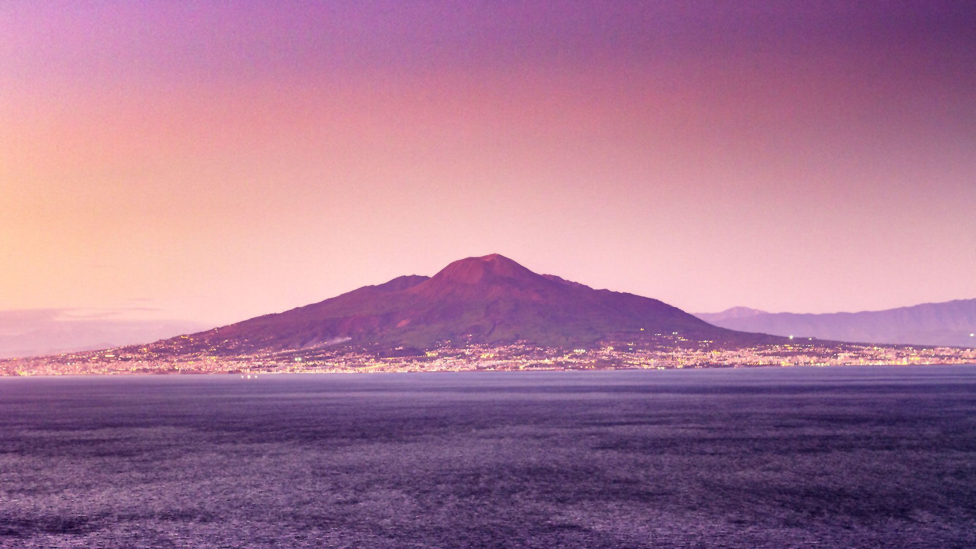 Mount Vesuvius and the city of Naples at sunrise