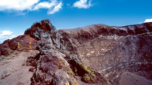 Looking down into the crater from the top of Mount Vesuvius