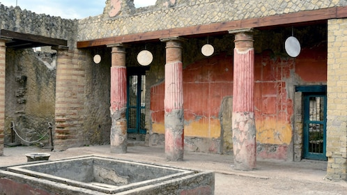 Colorful pillars in the ruins of Herculaneum