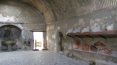 Inside one of the remaining structures in Herculaneum