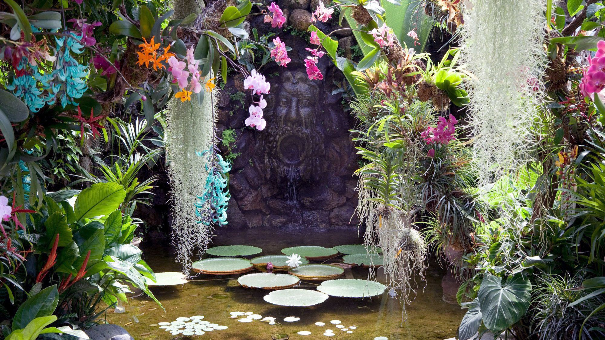 Brightly colored flowers surround a pool and fountain at the Mortella Gardens on Ischia