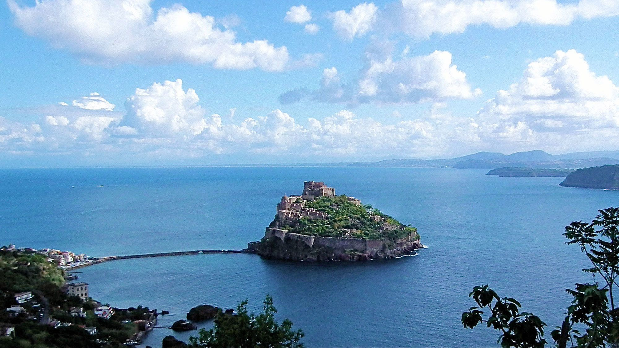 Aragonese Castle on a volcanic rock off the coast of Ischia