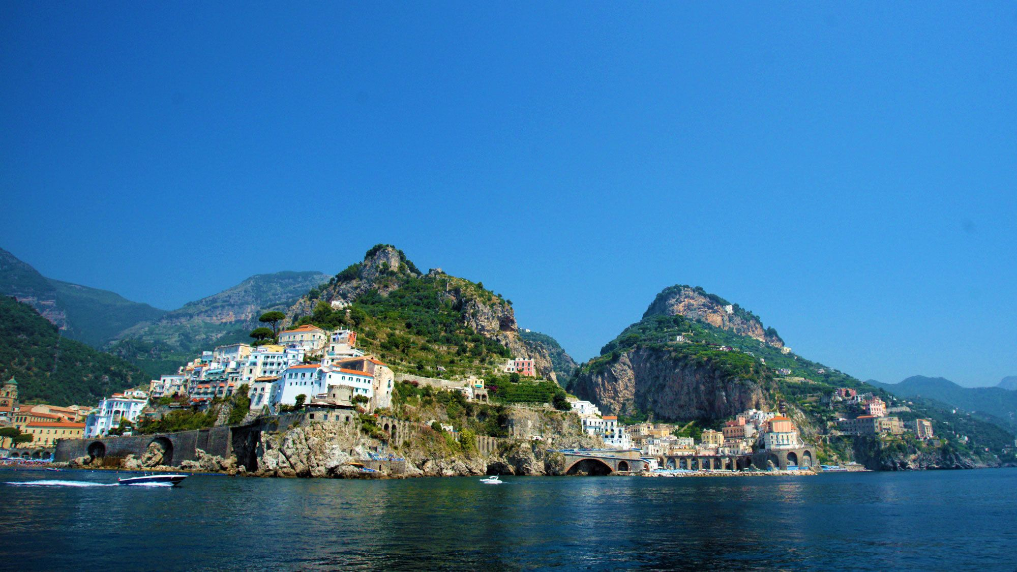 Town along the rocky Amalfi Coast in Italy