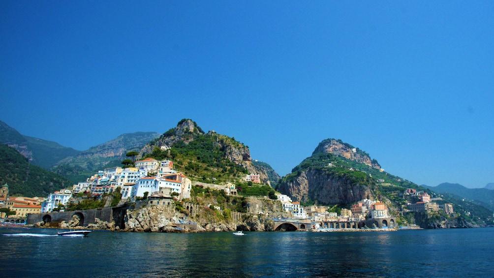 Town along the rocky Amalfi Coast in Italy