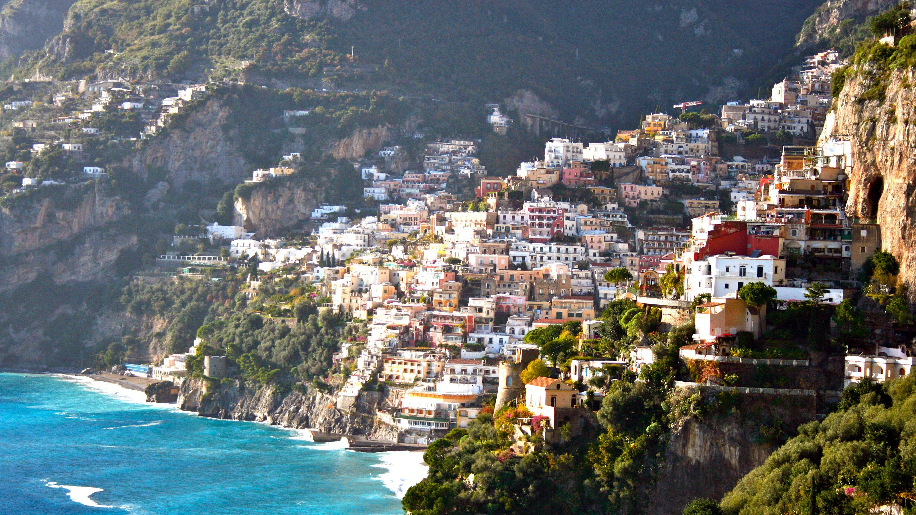 A city nestled into the cliffside on the Amalfi