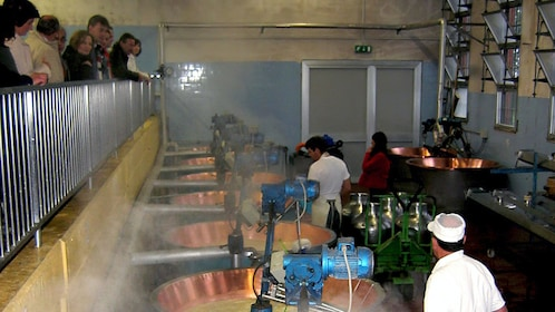 People watching cheese being made in Parma