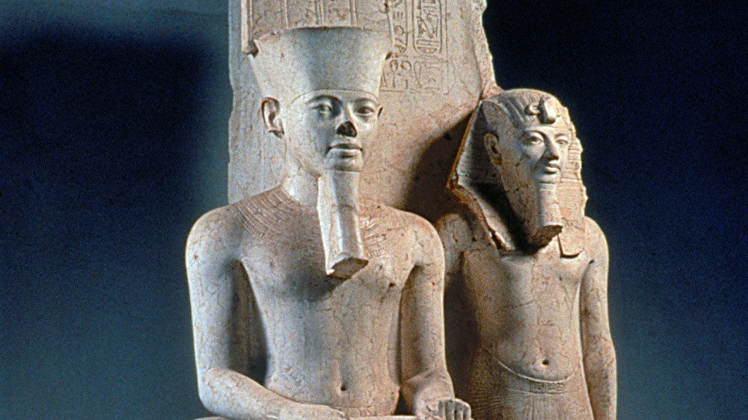 Two ancient Egyptian sculptures from a museum