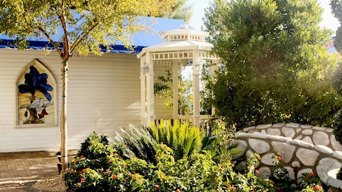 Outdoor photo featuring the beautiful, private garden at the Storybook Wedding Chapel