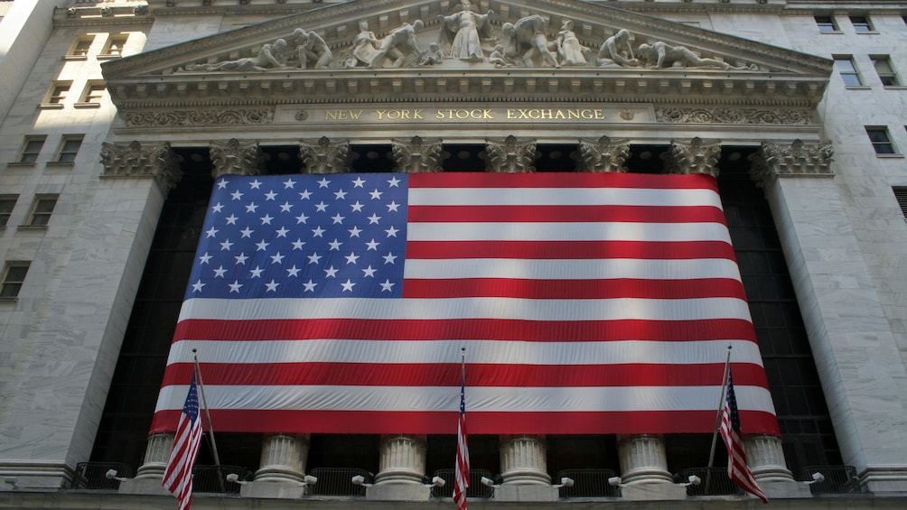 New York Stock Exchange building with American flag