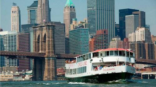 Sightseeing cruise near the Brooklyn Bridge in New York
