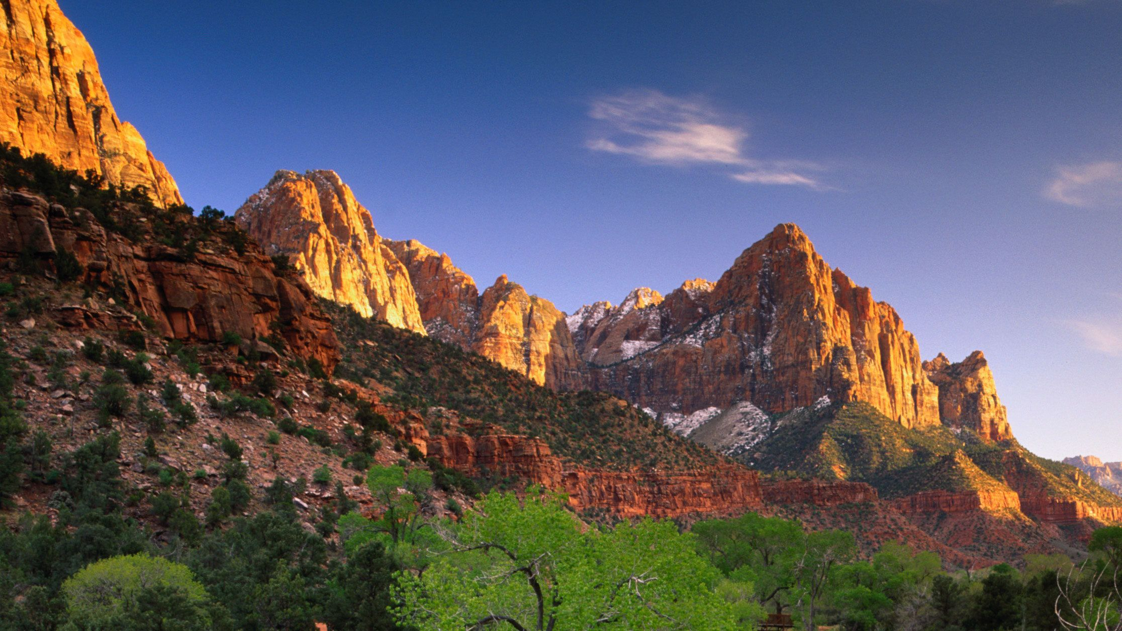 Zion National Park sunset view of the valleys