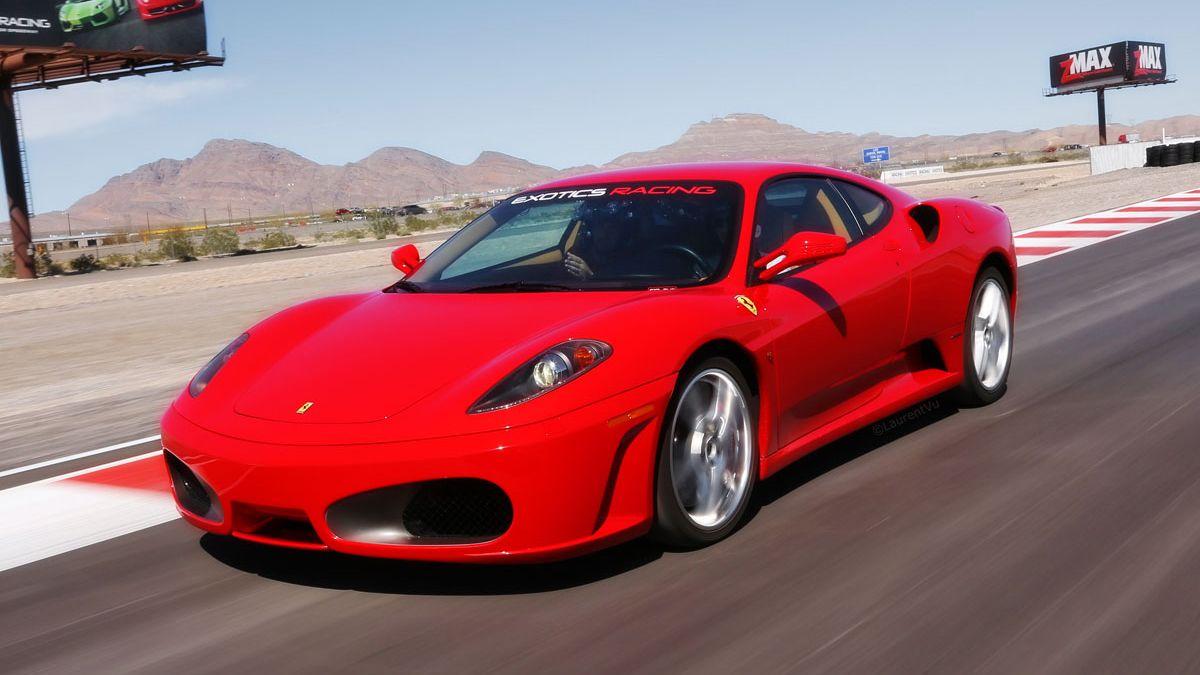 Ferrari F430 F1 in the main straight away on the Exotic Car Raceway on Las Vegas