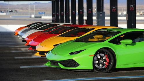 Colorful Ferraris and Lamborghinis lined up