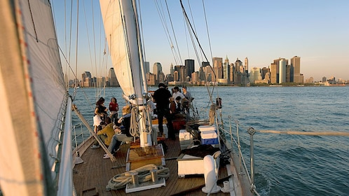 Group on the deck of a schooner in New York