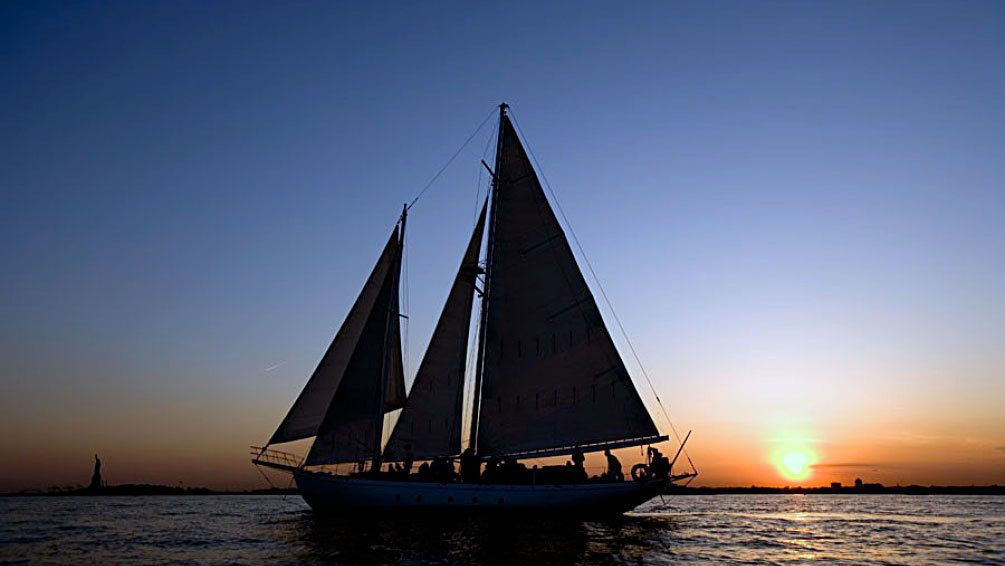 Schooner on the water at sunset in New York