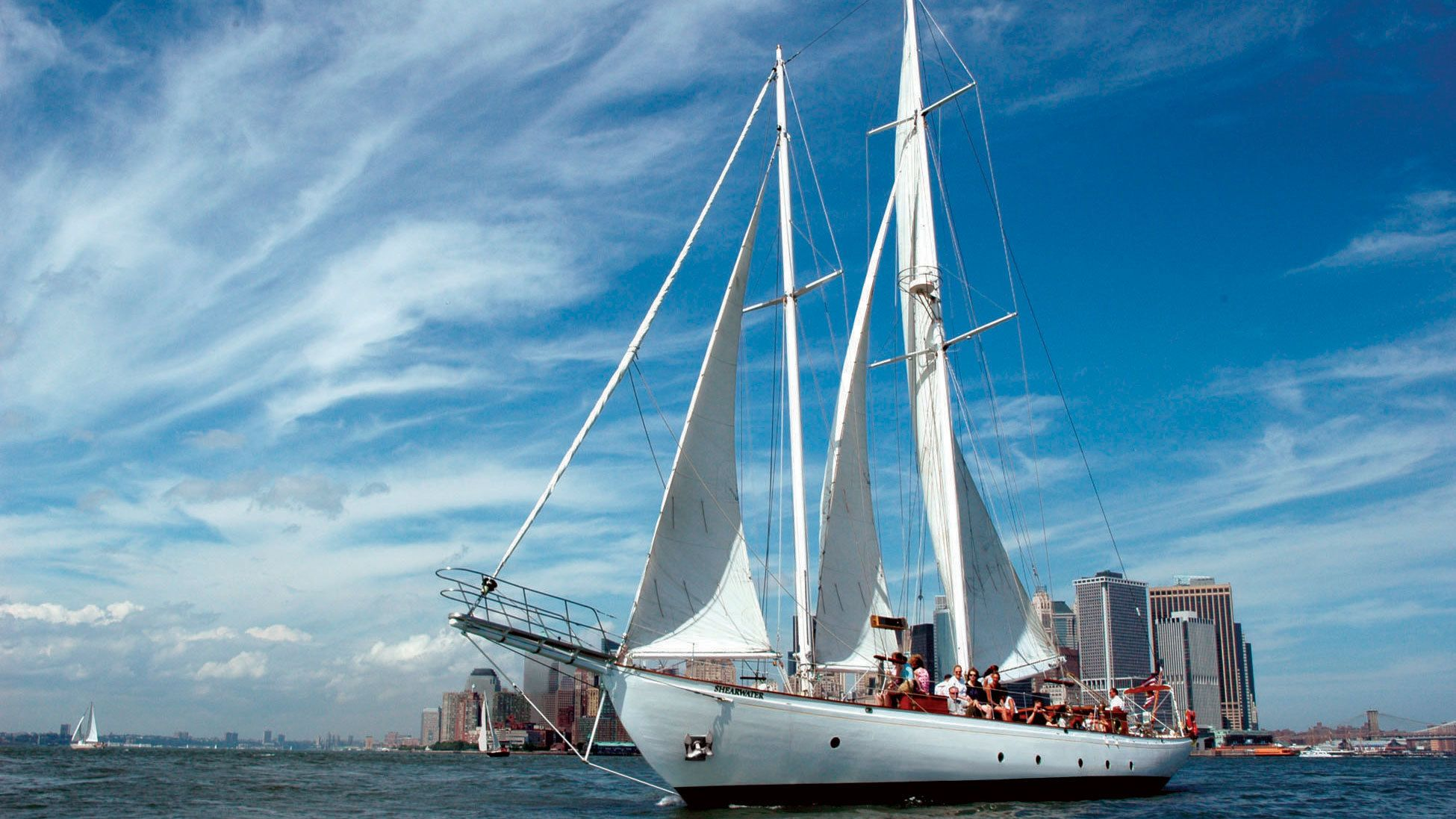 Schooner with the city in the background in New York