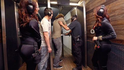 Guests getting ready to get on the shooting range in Las Vegas