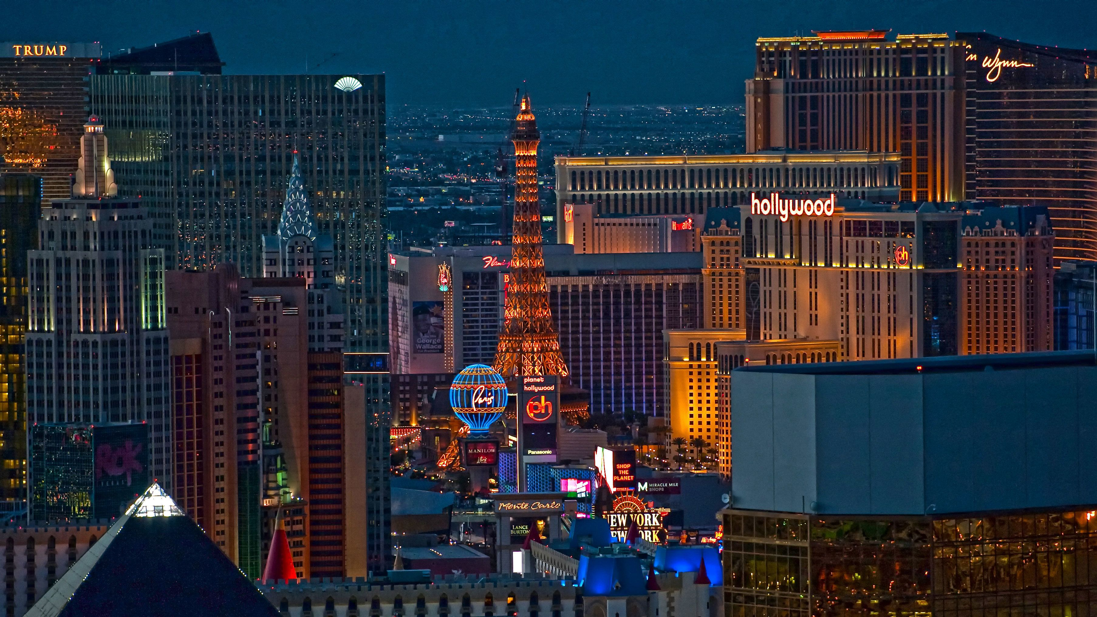 Stunning aerial view of the Las Vegas strip from a Maverick helicopter