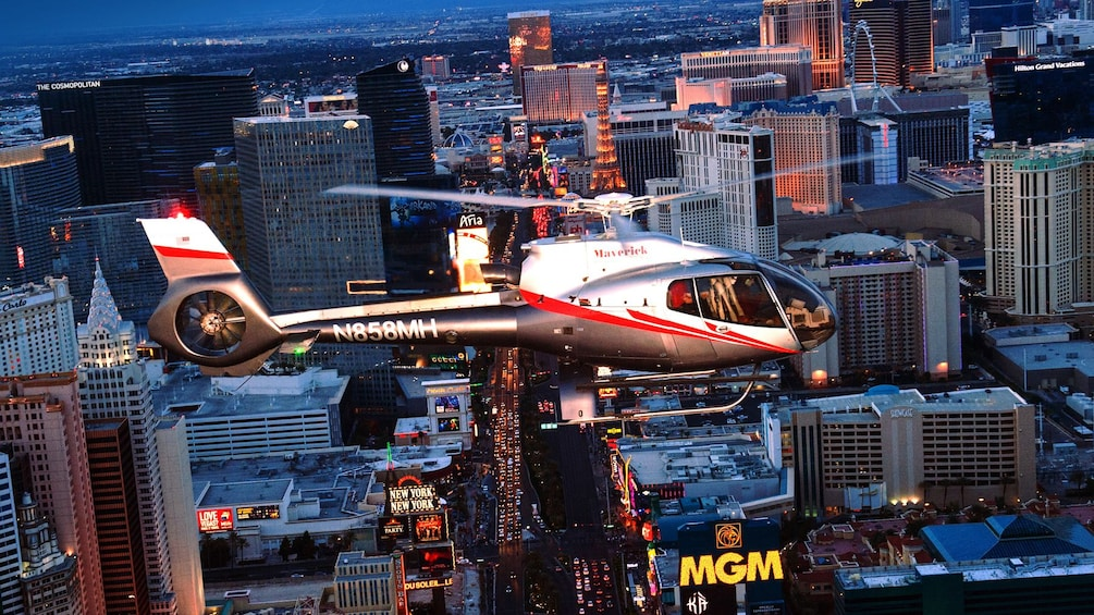Ride in a Maverick helicopter and experience a unique view the Vegas lights from up above