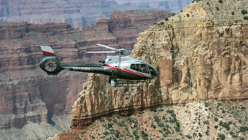 Helicopter traversing the Grand Canyon
