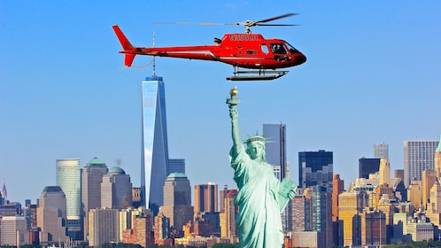 Helicopter over the Statue of Liberty in New York