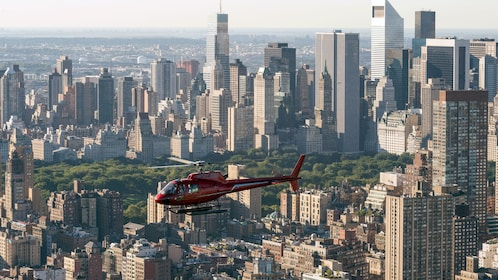 Helicopter near Central Park in New York