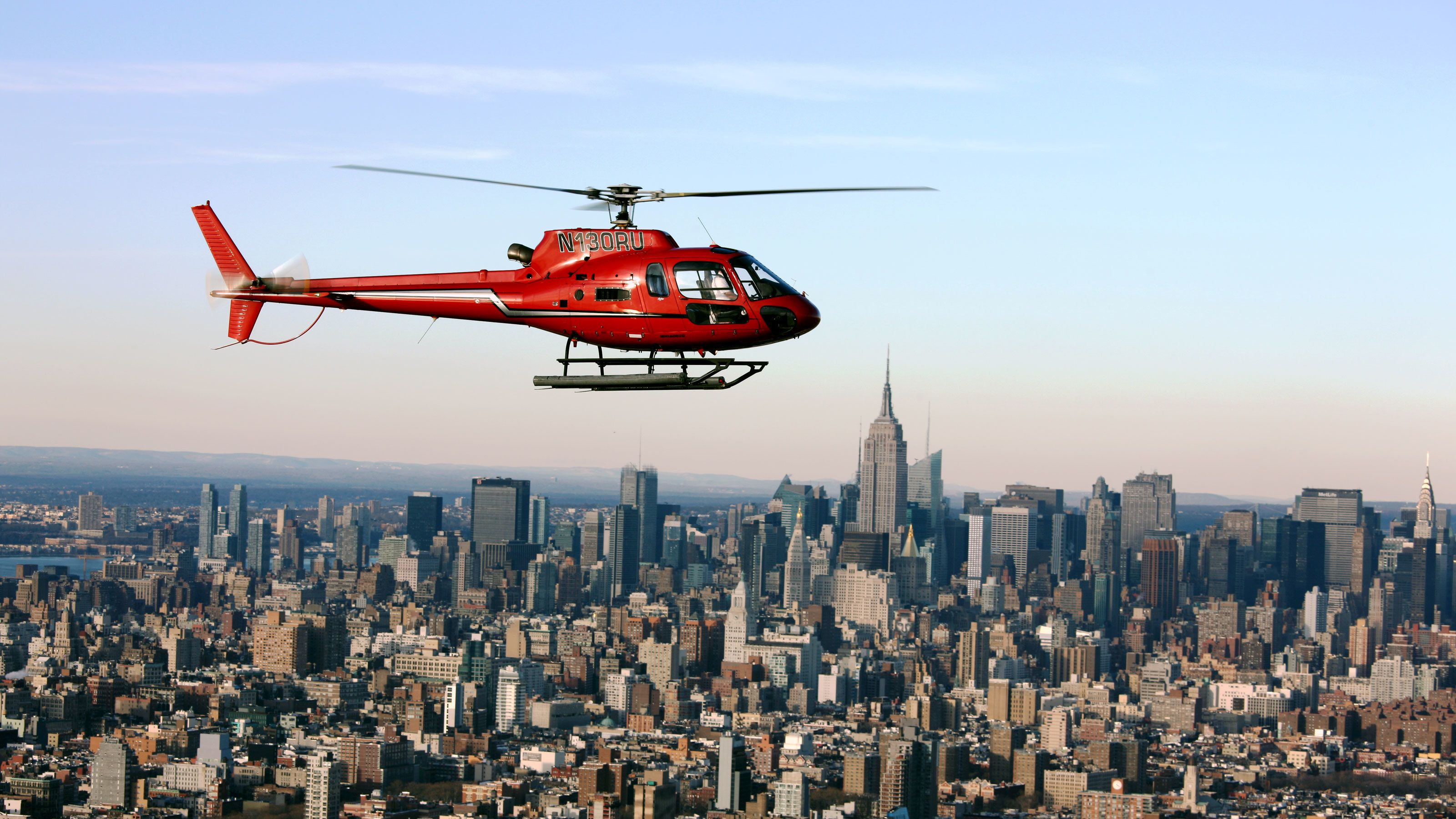 Helicopter over Manhattan in New York