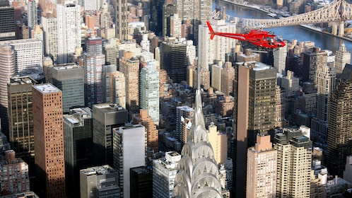 Helicopter over the Empire State Building in New York