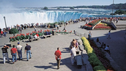 Visitors looking out at Niagara Falls