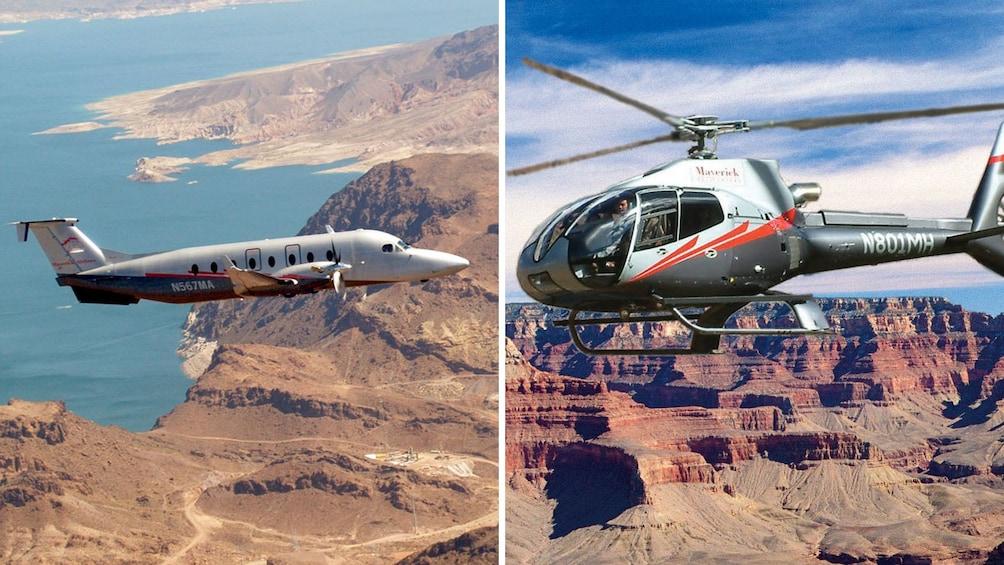 1 枚目の写真 (4 枚中) を開く。 Combo image of plane and helicopter over Grand Canyon in Las Vegas
